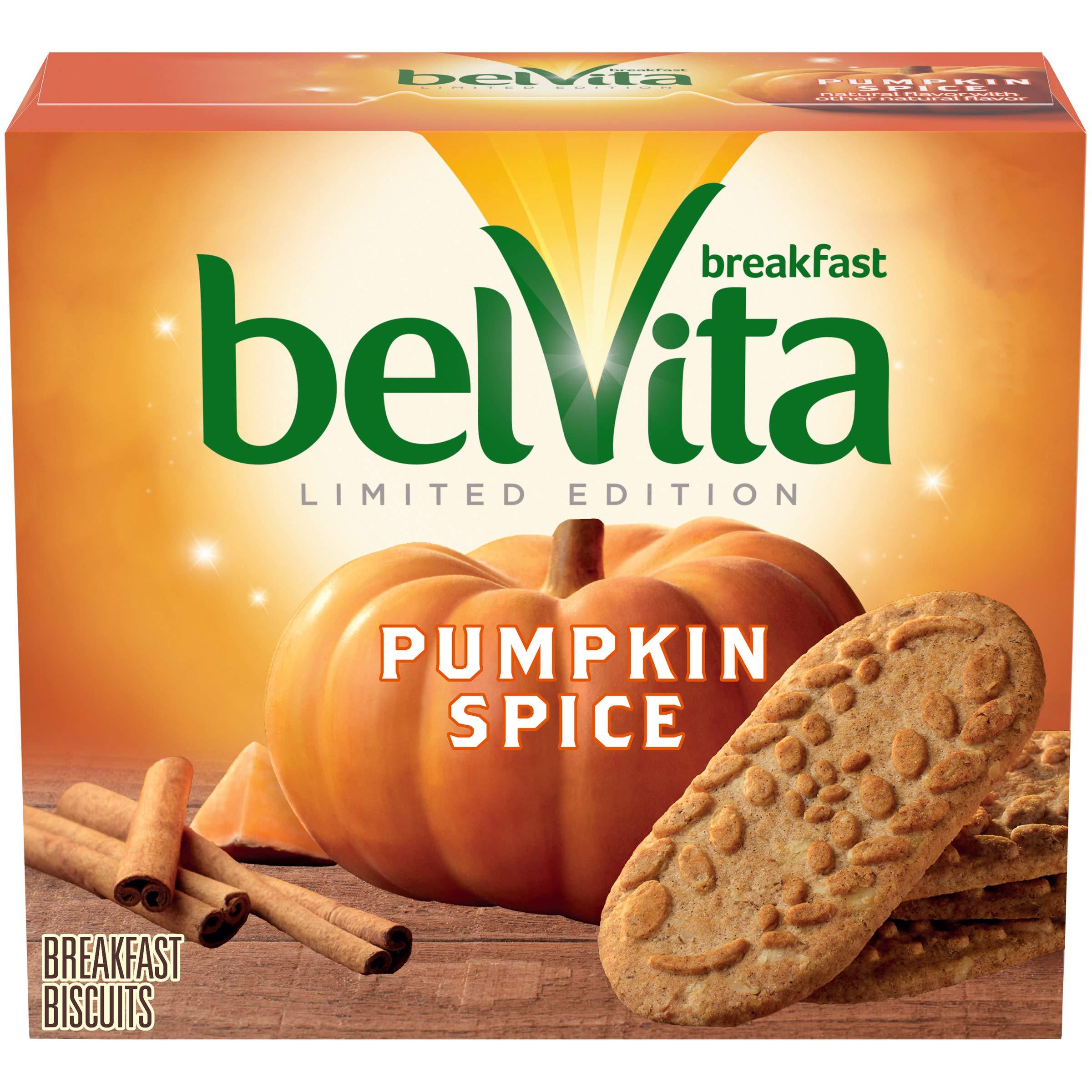 belVita Pumpkin Spice Breakfast Biscuits, 1 Box of 5 Packs (4 Biscuits Per Pack)