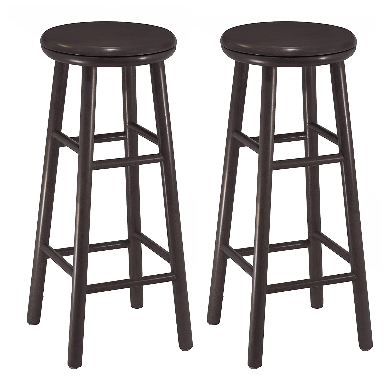 Amazon Winsome Wood Inch Swivel Bar Stools Dark Espresso