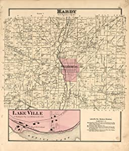Historic 1875 Map - Caldwell's Atlas of Holmes Co, Ohio - Hardy - Lake Ville-Caldwell's Atlas of Holmes County, Ohio 38in x 44in