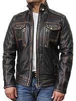 Brandslock Men's Genuine Leather Biker Jacket Motorcycle Distressed Vintage Jacket