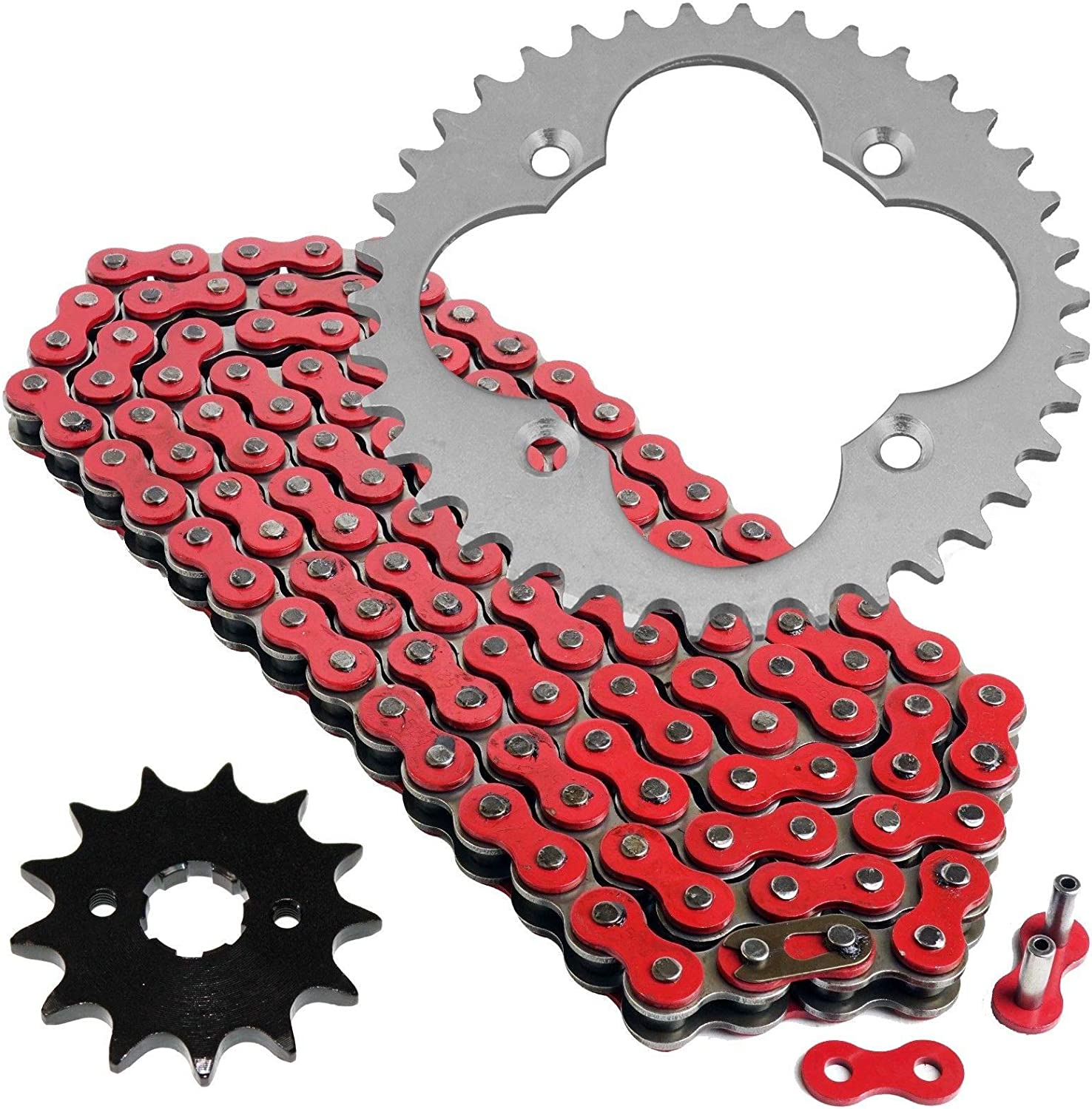 Caltric Red Drive Chain And Sprockets Kit Compatible With Honda Trx300Ex Trx300X Sportrax 300 2X4