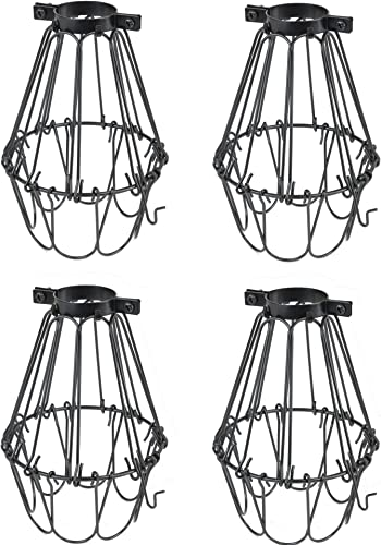 Rustic State Set of 4 Industrial Vintage Style Hanging Pendant Metal Wire Cage Adjustable Light Fixture Lamp Guard Black