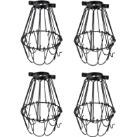 Rustic State Set of 4 Industrial Vintage Style   Hanging Pendant Metal Wire Cage   Adjustable Light Fixture Lamp Guard…