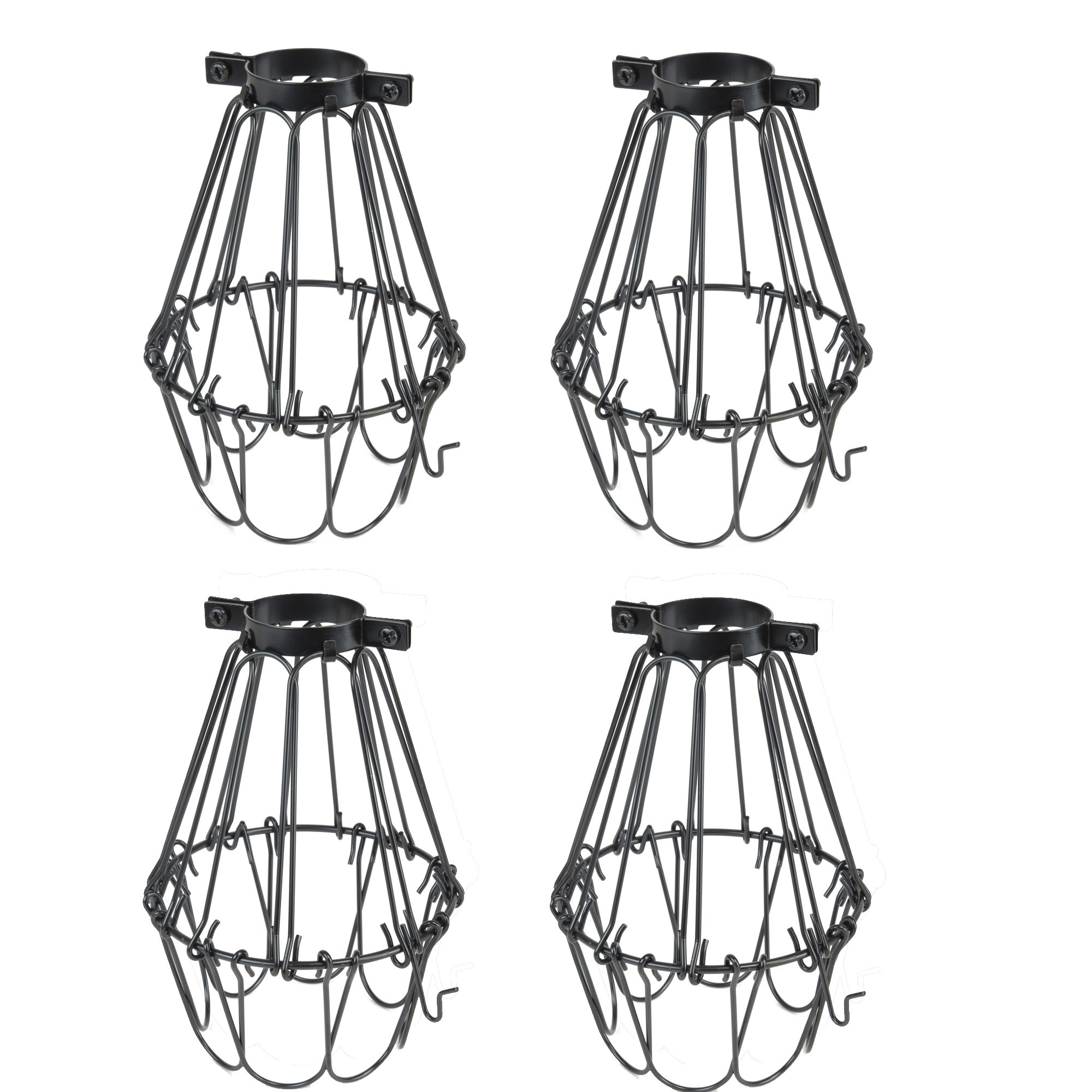 Rustic State Set of 4 Industrial Vintage Style | Hanging Pendant Metal Wire Cage | Adjustable Light Fixture Lamp Guard (Black) by Rustic State