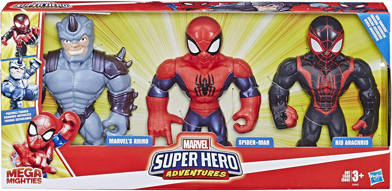 Kid Arachnid 10 Figures Playskool Heroes Mega Mighties Marvel Super Hero Adventures Web Warriors 3 Pack Spider-Man Marvel/'s Rhino Kids Ages 3 /& Up