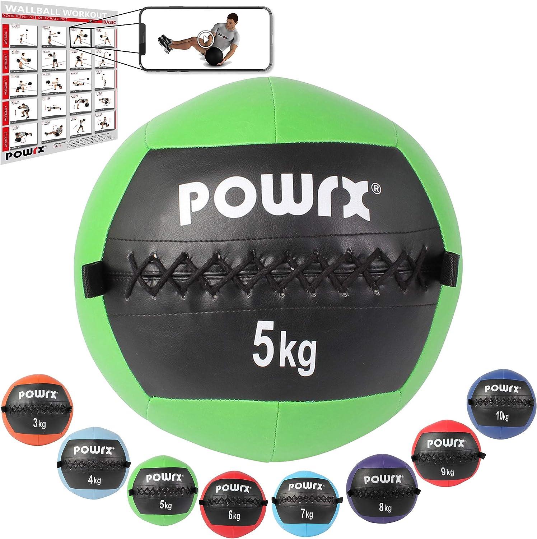 POWRX Wall Ball Balón Medicinal 2-10 kg - Ideal para Ejercicios de »Functional Fitness«, fortalecimiento y tonificación Muscular - Agarre Antideslizante + PDF Workout