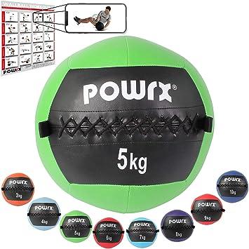 POWRX Wall ball Balón medicinal 5 kg - Ideal para ejercicios de ...