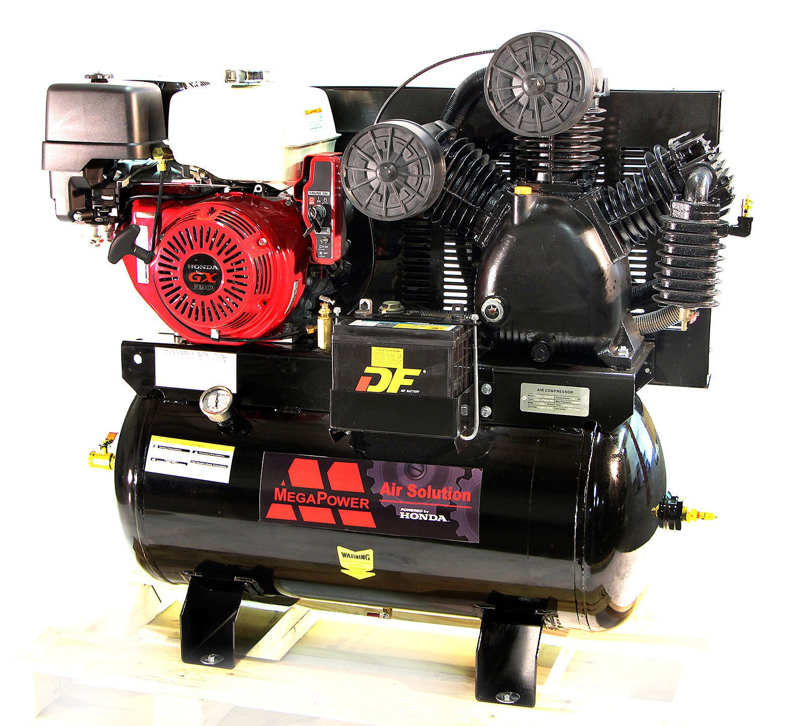 13 HP Honda GX390 Truck Mount Air Compressor 30 Gallon w Battery Tray Leather Bound