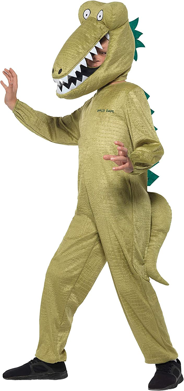 Smiffy's Smiffys Officially Licensed Roald Dahl Deluxe Enormous Crocodile Costume Dress-Up Disfraz oficial de cocodrilo, color verde, L-10-12 Years 41541L