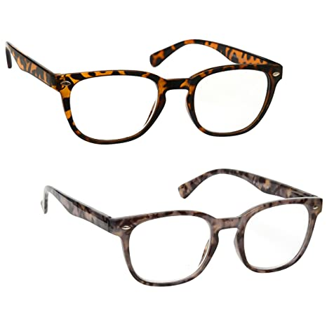 5677355800 Buy The Reading Glasses Company Brown   Grey Readers Value 2 Pack Gregory  Peck Style Mens Womens RR14-2T7 +2.50 Online at Low Prices in India -  Amazon.in