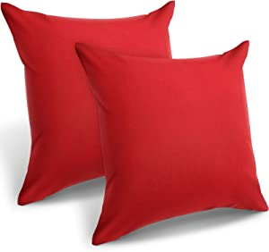 2 Pieces Decorative Outdoor Patio Balcony Waterproof Throw Pillow Covers, PU Coating Pillow Shell, Square Garden Cushion Case for Patio, Sofa, Tent, Couch, Bed and Balcony, 18 x 18 Inch (Red)