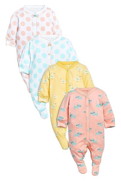 next Bebé Niña Paquete De Cuatro Pijamas Peleles De Algodón Estampado De Lunares Gatos (0
