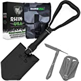 Rhino USA Folding Survival Shovel w/Pick - Heavy Duty Carbon Steel Military Style Entrenching Tool for Off Road, Camping, Gar
