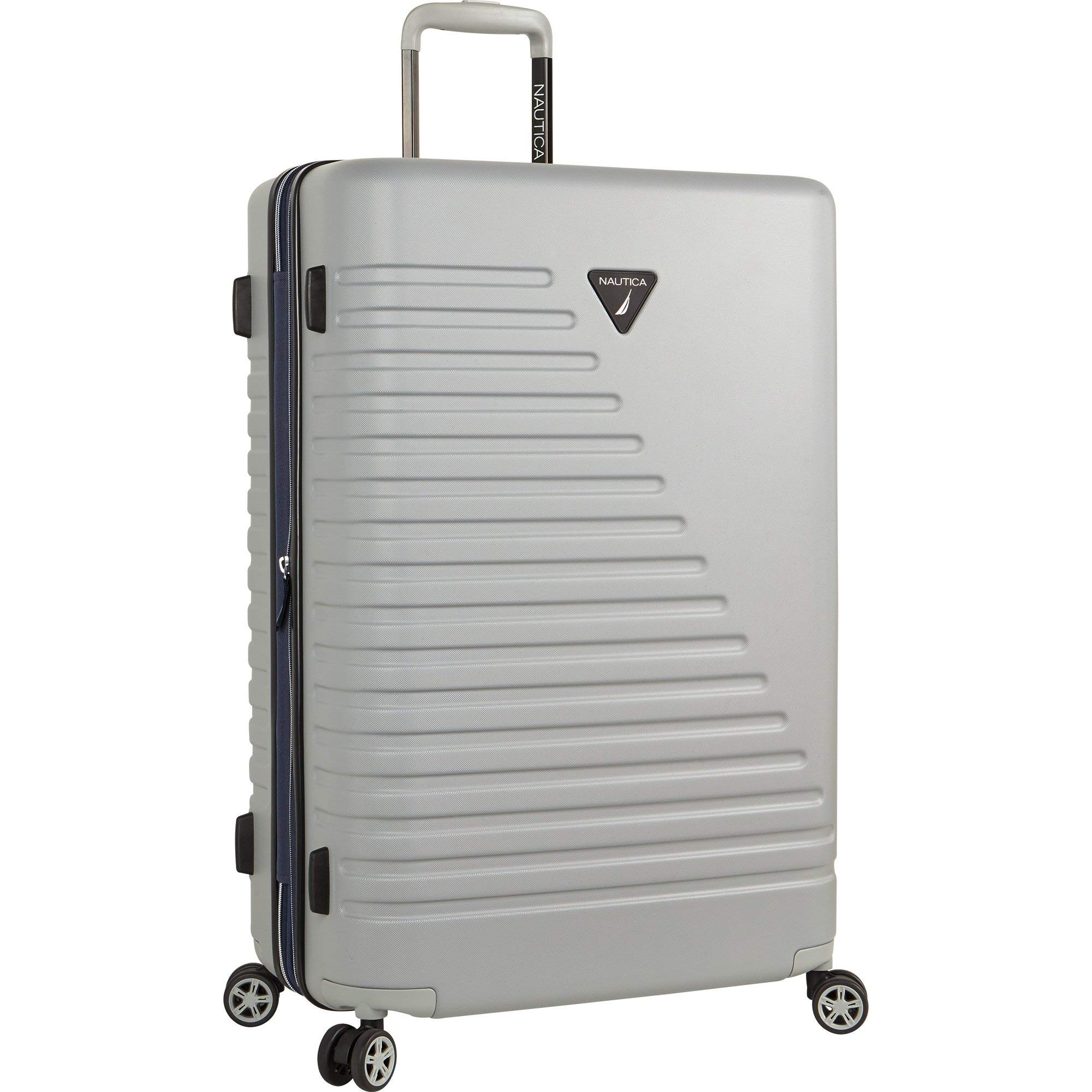 Nautica Ahoy Hardside Expandable 4-Wheeled Luggage-28 Inch Checked Size, Neutral Gray