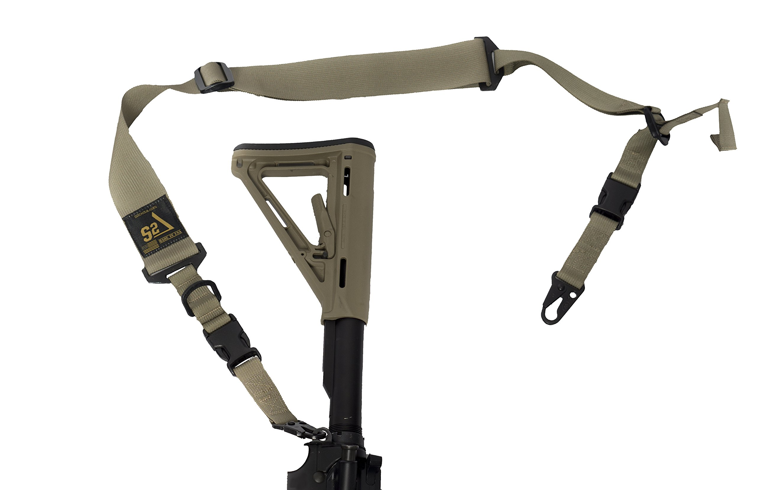 S2Delta - USA Made Premium 2 Point Rifle Sling, Quick Adjustment, Modular Attachment Connections, Comfortable 2'' Wide Shoulder Strap (Coyote Sling with C.L.A.S.H. Hooks, Full Sling) by S2Delta