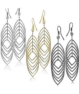 "Fashion Costume Jewelry Dangle Drop Earrings Set For Women Teen Silver Gold And Black Tones (GL2: Long Drop 3.5"" Triple Tones)"