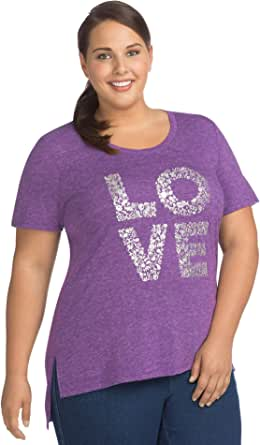 Just My Size Womens OJ912 Plus Short Sleeve Graphic Tunic Short Sleeve Shirt