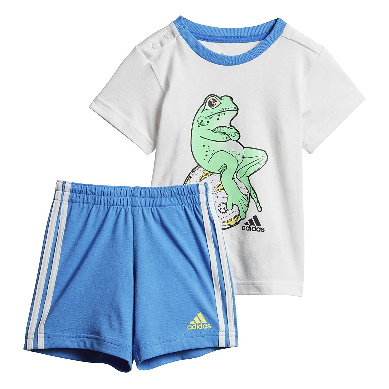 Ages 0-24M adidas boys baby//infant 3 stripe shorts /& top set Summer set