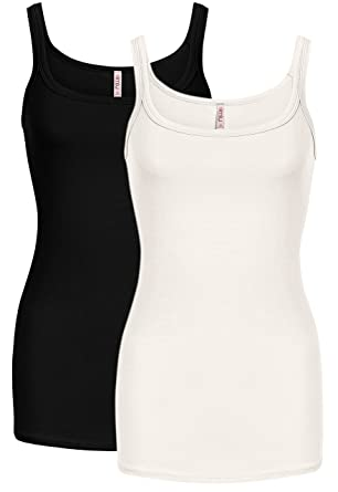 0a85b0612c3291 Simlu 2 Pk Black White Tank Tops for Women Workout Cami Top Regular and Plus