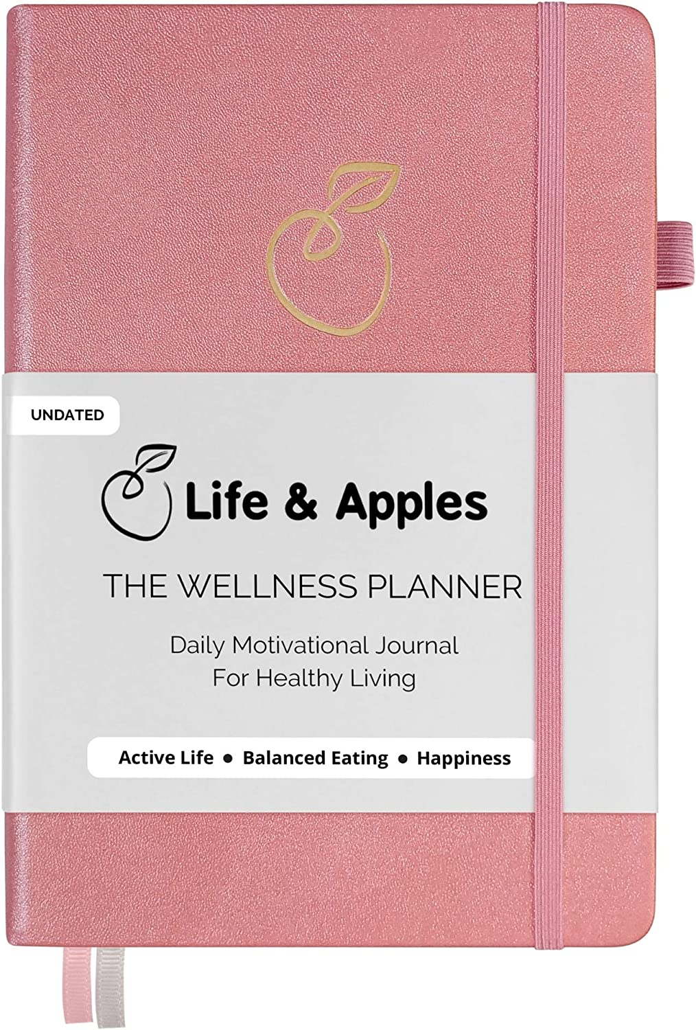 Life & Apples Wellness Planner - Food Journal and Fitness Diary with Daily Gratitude and Meal Planner for Healthy Living - Track Weight Loss Diet and Achieve Health Goals - Undated, Pink