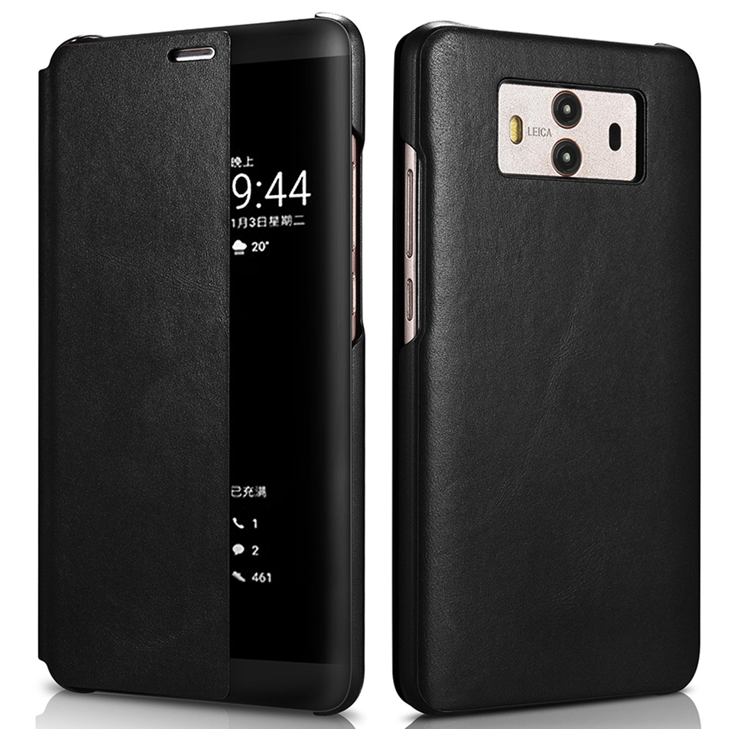 Huawei Mate10 Pro Case Aroko [Smart Window View] Genuine Leather Stand Cover Case Ultra Thin Slim Flip Wallet Case for Huawei Mate 10 Pro 2017 (Black, Mate10 Pro)
