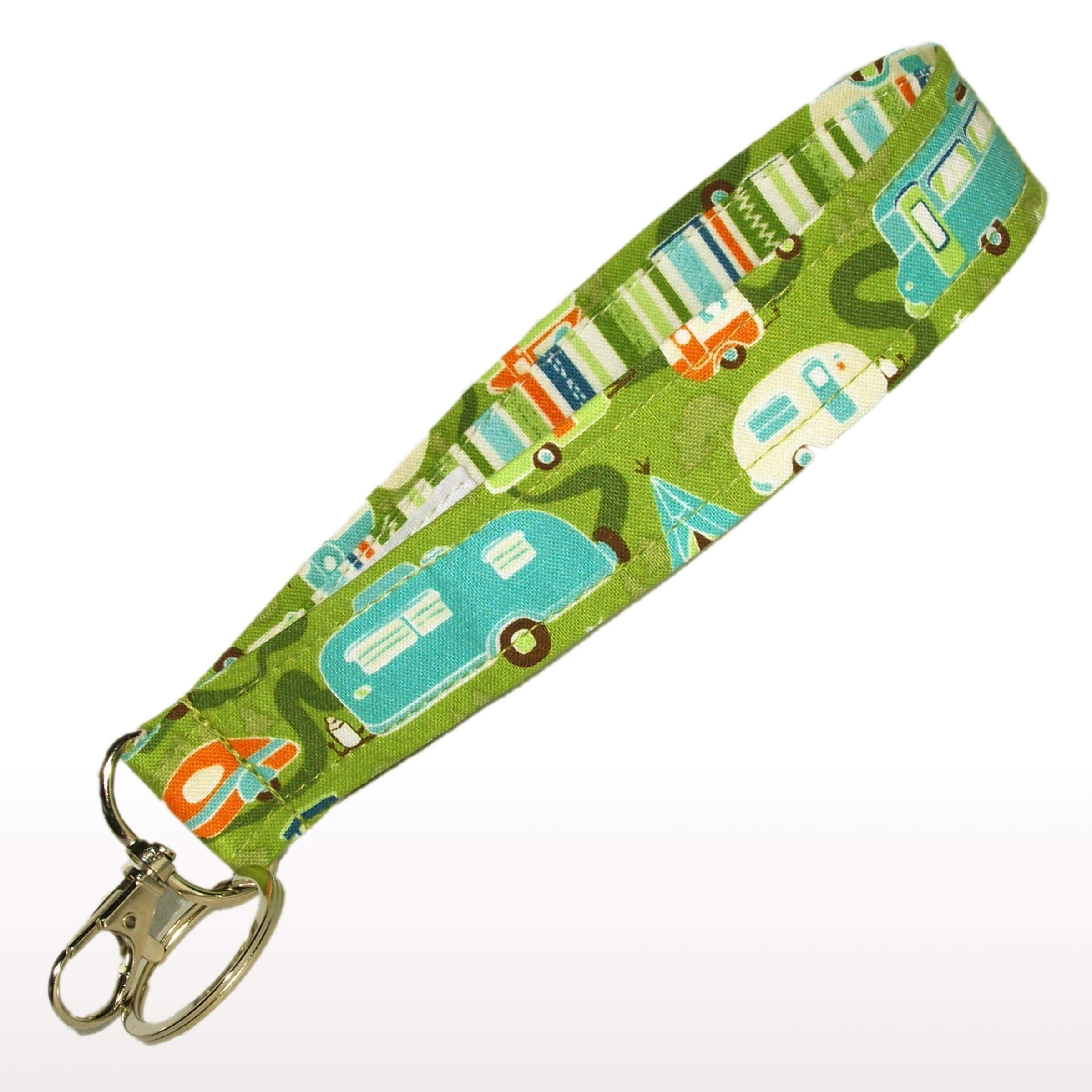 6'' Camper Keychain - Green With Retro Campers - Camping Key Fob Strap - RV Accessories - Purse Strap