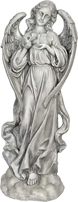 "Exhart Heavenly Angel Garden Statue - Angel Holding a Dove Mini Figurine, Angel Statue, Angel Sculpture, Angel Decorations for Shelf Display, Living Room, and Patio, 7.9"" L x 10.4"" W x 27.2"" H"