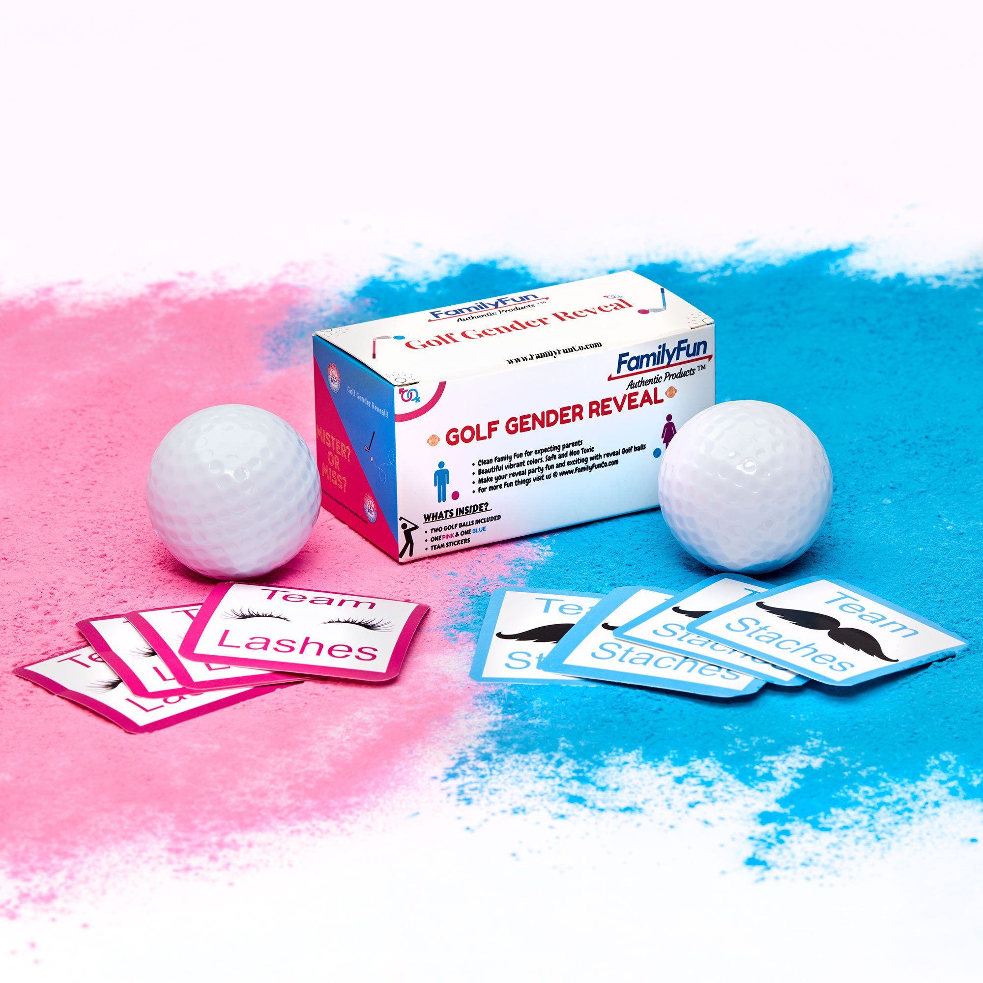 Gender Reveal Exploding Golf Balls Includes Bonus Golf Tee And Team Stickers -Pink And Blue Powder Included, Sex Reveal Party - Team Pink (Girl) And Team Blue (Boy) - FamilyFun Authentic Products by Rapid Start LLC