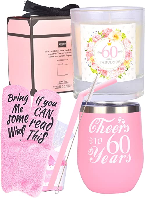 Great 60th Birthday Gift Fabulous 60 on Hot Pink Socks