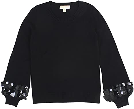 50e54918d52 MICHAEL Michael Kors Womens Sequin-Cuff Long Sleeves Crewneck Sweater Black  S