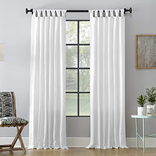 Archaeo Washed 100 Cotton Twist Tab Curtain, 52 x 95 Panel, White