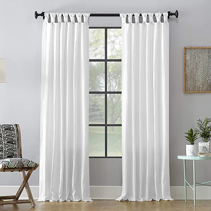 """95""""x52"""" Washed Cotton Twist Tab Light Filtering Curtain Panel White - Archaeo"""