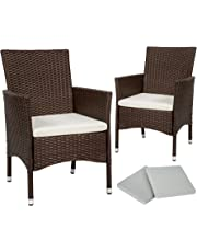 TecTake 2 x Poly rattan garden chairs set + cushions + 2 sets for exchanging the upholstery + stainless steel screws - different colours -