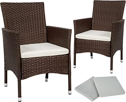 TecTake 2 x Ratán sintético silla de jardín set con cojines + 2 Set de fundas intercambiables + tornillos de acero inoxidable - disponible en diferentes colores - (Marrón mixto | No. 402123): Amazon.es: Jardín