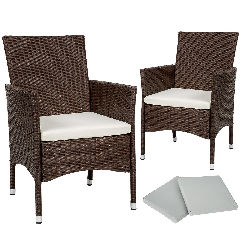 TecTake 2 Pezzi Sedie da esterno Sedia da Giardino poli rattan poltrona set + 2 Set di rivestimenti per cuscini + viti in acciaio inox - disponibile in diversi colori - (Marrone antico | No. 402124)