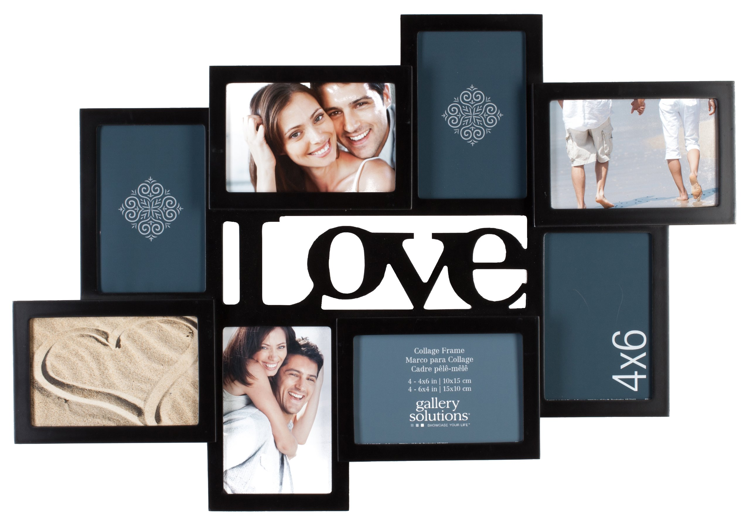 Gallery Solutions Love 8 Opening Dimensional Collage Wall Hanging Picture Frame, 4x6 by Gallery Solutions