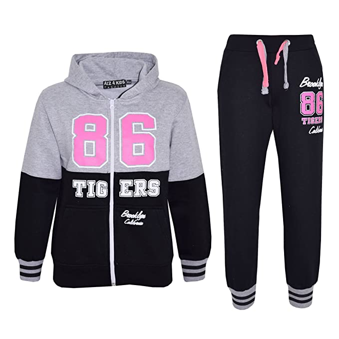 GIRLS TRACKSUIT TIGERS 86 BROOKLYN CALIFORNIA JOG SUIT JACKET /& JOGGERS HOODIE /& BOTTOM SET NEW AGE 1-13 YEARS