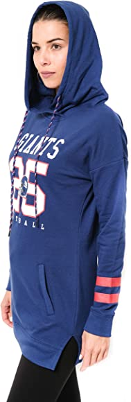 4044dfb0 NFL New York Giants Women's Tunic Hoodie Pullover Sweatshirt Terry, Team  Color, Royal, Large