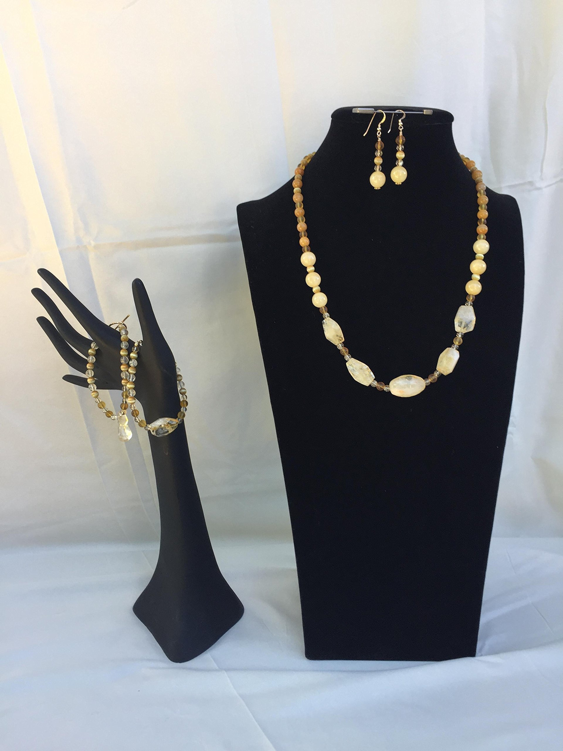Impressive handmade jewelry set with a necklace, two bracelets and matching dangle earrings. Citrine, Opal and mixed gemstones. One of a kind