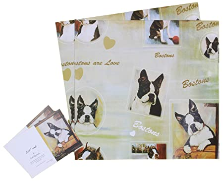 Tailz Gifts Boston Terrier Dog Birthday Christmas All Occasions Wrapping Gift Paper 2 Sheets And Co Ordinating Tags Amazoncouk Kitchen Home