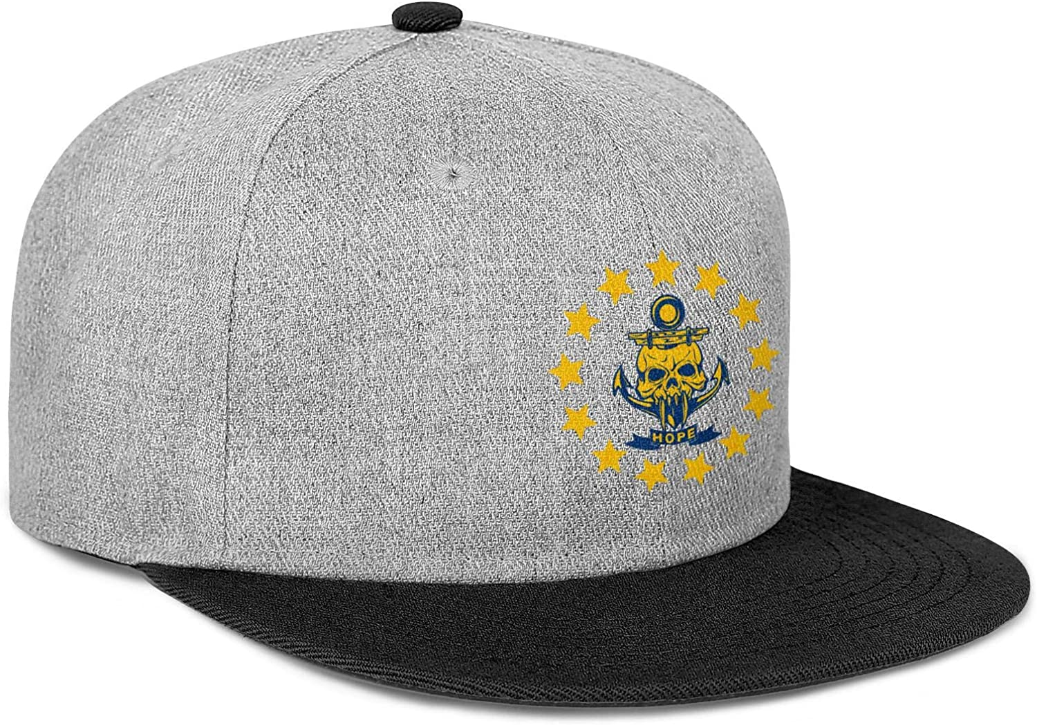 Mens Womens Baseball Hat Rhode Island State Skull Stars and Hope Snapback Custom Cap