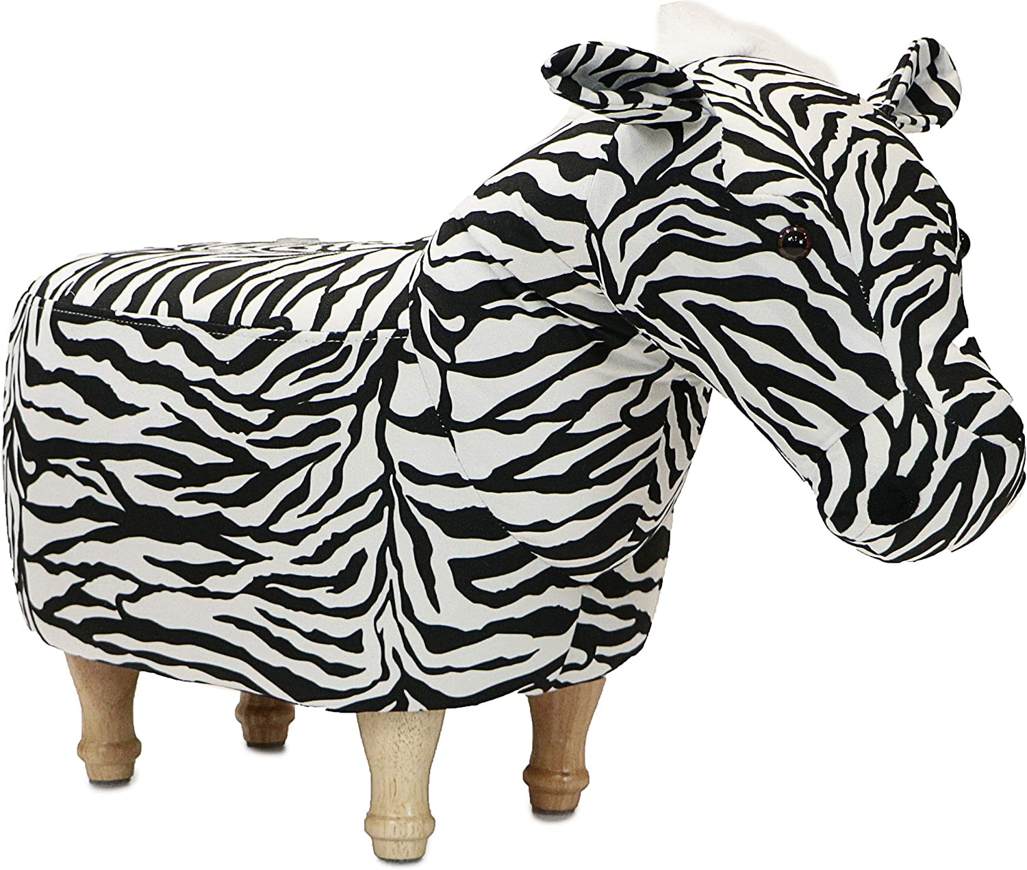 "Critter Sitters Black/White 14"" Seat Height Animal Ottoman Zebra-Durable Spindle Legs-Easy to Clean Material-Footstool-Perfect for Kids, Living Rooms, Playrooms, Offices"