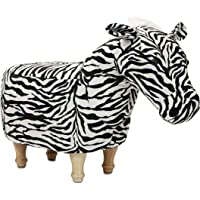 Critter Sitters Black/White 14″ Seat Height Animal Ottoman Zebra-Durable Spindle Legs-Easy to Clean Material-Footstool-Perfect for Kids, Living Rooms, Playrooms, Offices