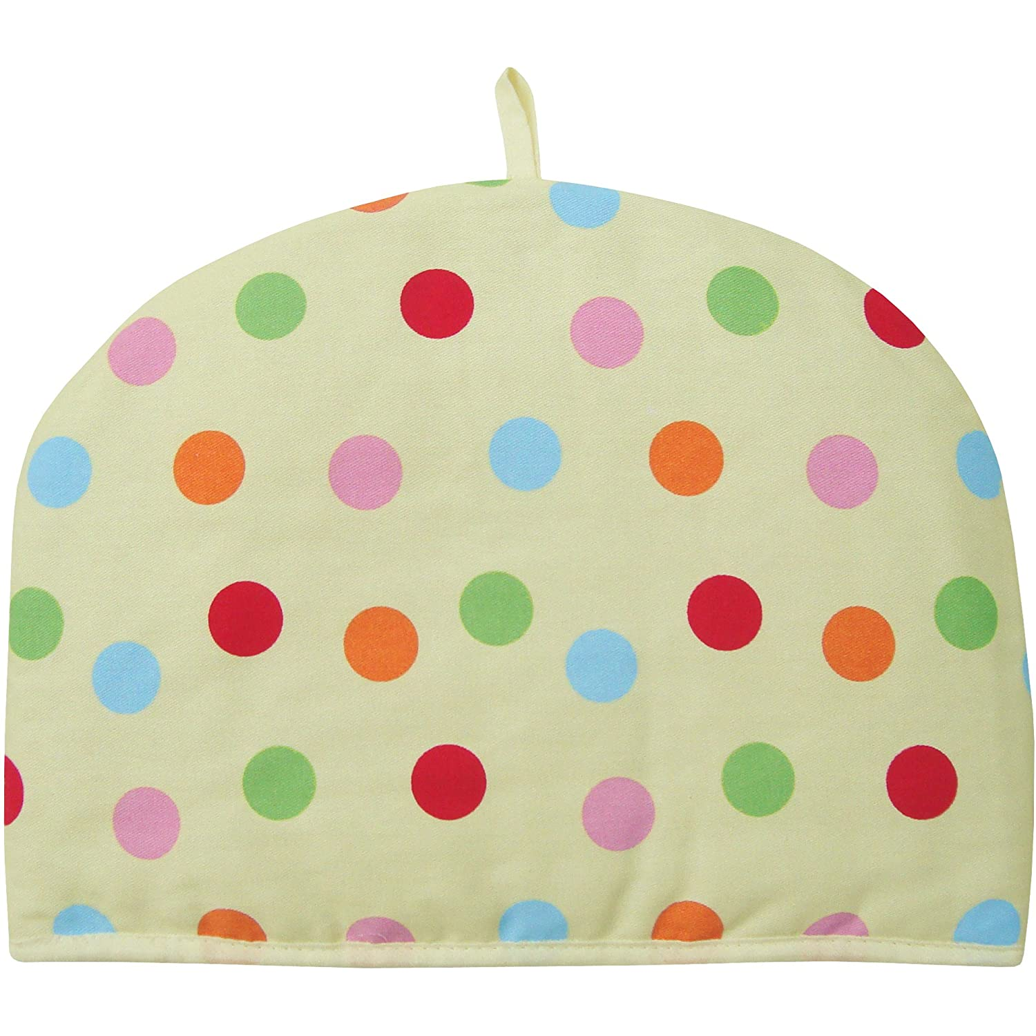 Cream Rainbow Polka Dot Large Insulated Dome Tea Cosy Teapot Warmer TeddyT's