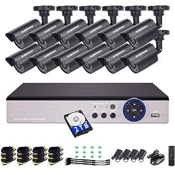 DEFEWAY Sistema de Seguridad 16CH CCTV DVR Con Disco Duro De 2TB + 12x 720P Con