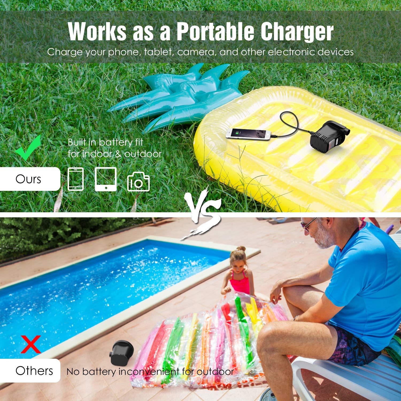 Dr.meter Inflador Electrico, Bomba de inflado eléctrica para Colchones de Aire y flotadores. Puerto USB para teléfono móvil, 3 boquillas Desmontables: ...