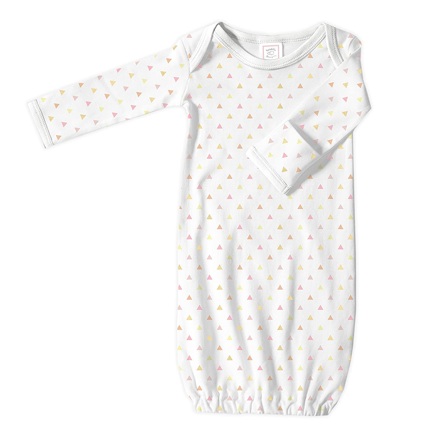 Newborn SwaddleDesigns Baby Infant Cotton Gown with Mitten Foldover Cuffs Sterling Tiny Triangles