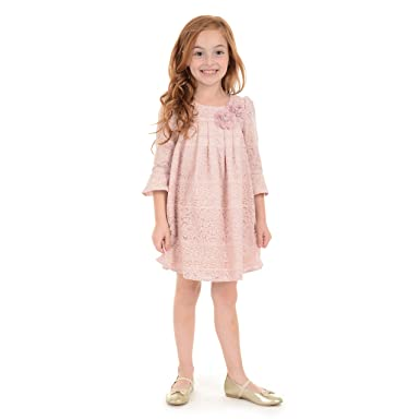 eca37ab1d84 Amazon.com  Laura Ashley Baby Girls 3 4 Sleeve Dress Lace Overlay ...