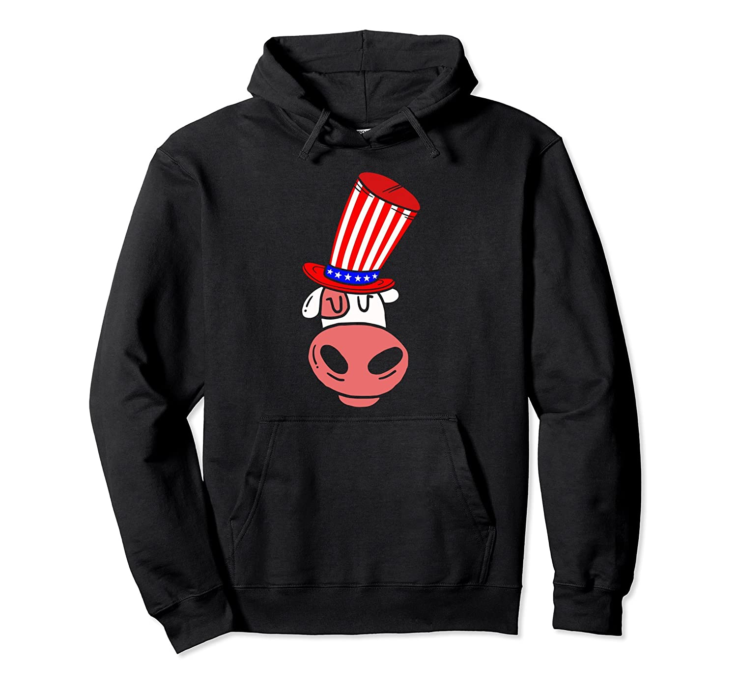 4th of July American Flag Patriot Cow Hoodie-anz