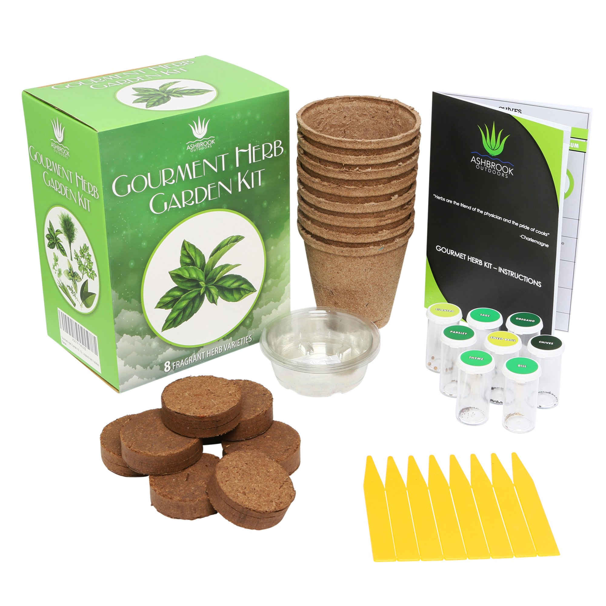 Herb Garden Starter Kit - Everything You Need to Grow Your Own Organic Herb Garden from a Seed | 8 Culinary Herb Varieties Including: Basil, Rosemary, Sage, Oregano, Parsley, Dill, Thyme, Chives